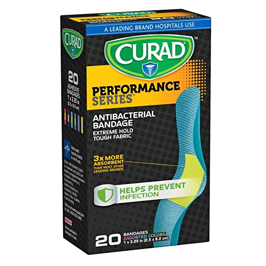 "Curad Performance Series Extreme Hold Antibacterial Fabric Bandages, 1"" x 3.25"", 20 Count"