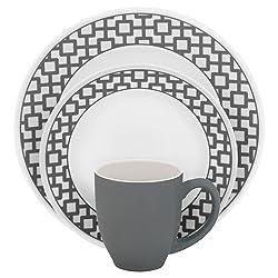 Corelle Impressions 16-Piece Dinnerware Set, Urban Grid, Gray