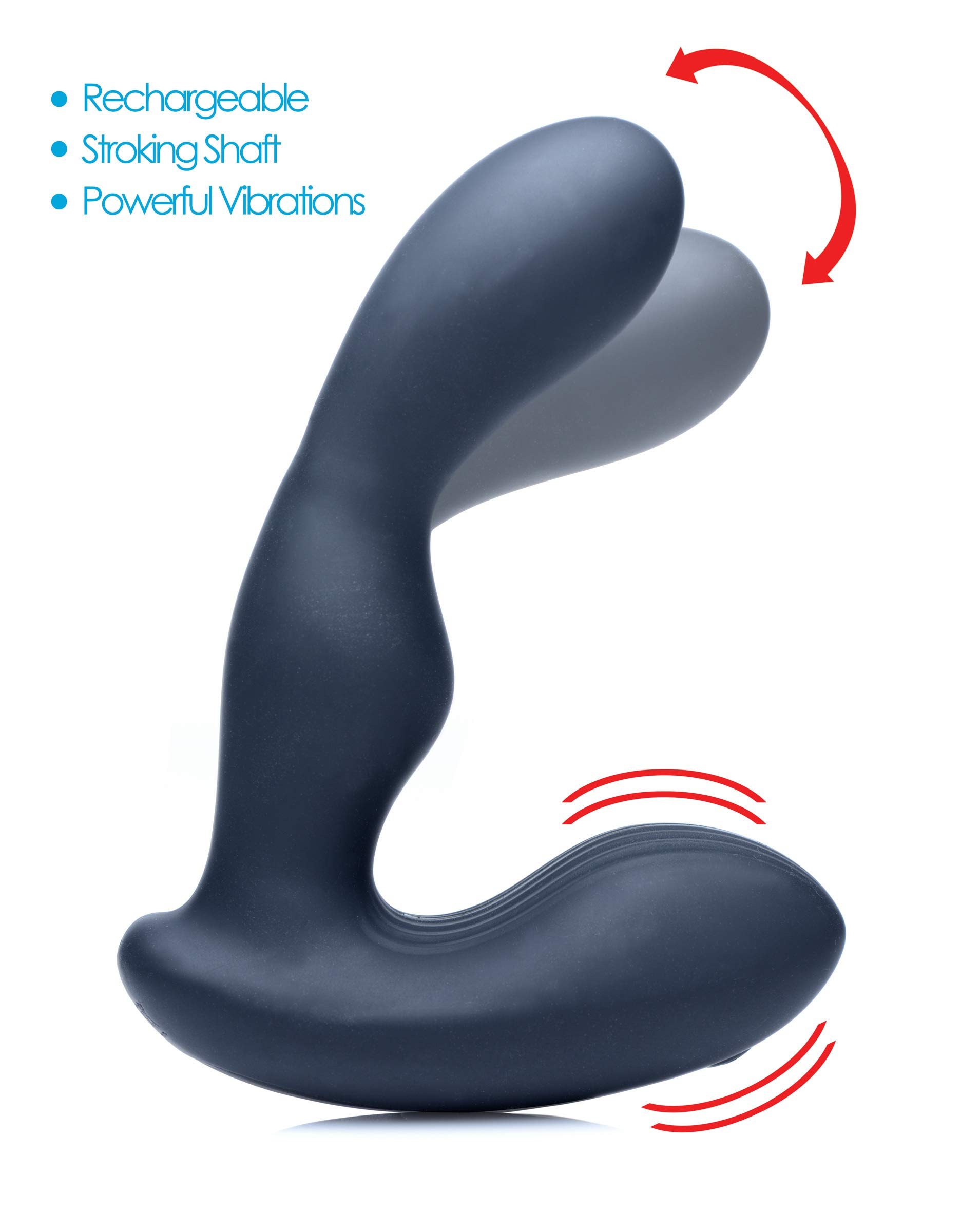 Alpha-Pro 7X P Stroke Silicone Prostate Stimulator with Stroking Shaft, Black by Alpha-Pro