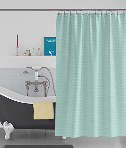 Kurtains2fly Light Green Box Textured Water Repellent 1 Panel Shower Curtains W 4 X L 8 Feet Amazonin Home Kitchen