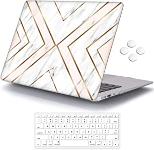 MacBook Air 13 inch Case (Release 2010-2017 Older Version), iCasso Hard Shell Plastic Protective Case & Keyboard Cover Only Compatible with MacBook Air 13 Inch Model A1369/A1466 - Geometric Marble