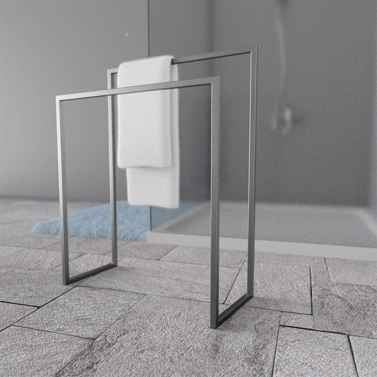 HOLZBRINK Metall Handtuchhalter für Badezimmer Kleiderständer Freistehender Handtuchständer mit 2 2 2 Stangen, Perldunkelgrau, 86x60x30 cm (HxBxT), HLMH-02-86-60-9023 B07PCSVYTX Handtuchstnder bf17cf