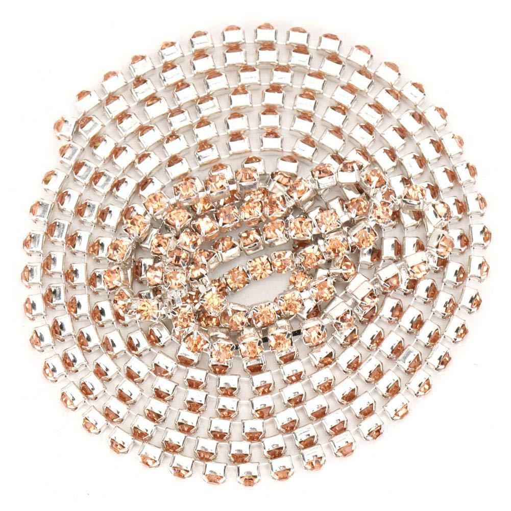 champagne 2.8mm DIY Diamond Crystal Chain Trim Roll Glossy Rhinestones Ribbon Decoration Applique Decoration Belt Scrapbooking Gift Clothing Accessories