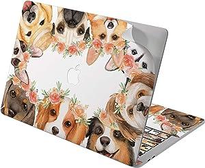 "Cavka Vinyl Decal Skin for Apple MacBook Pro 13"" 2019 15"" 2018 Air 13"" 2020 Retina 2015 Mac 11"" Mac 12"" Laptop Flowers Floral Protective Cute Husky Crown Sticker Design Cover Pets Print Animal Dog"