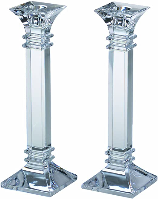amazon com marquis by waterford treviso collection candle sticks 10 clear crystalline home kitchen marquis by waterford treviso collection candle sticks 10 clear crystalline