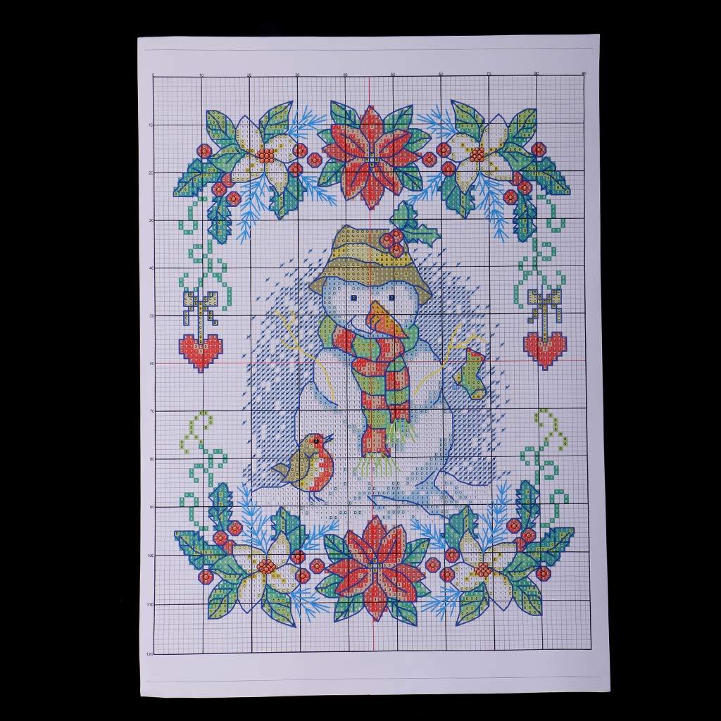 SM SunniMix DIY Stamped Cross Stitch Kit Pre-Printed New Year Snowman Pattern 11CT 27x37cm
