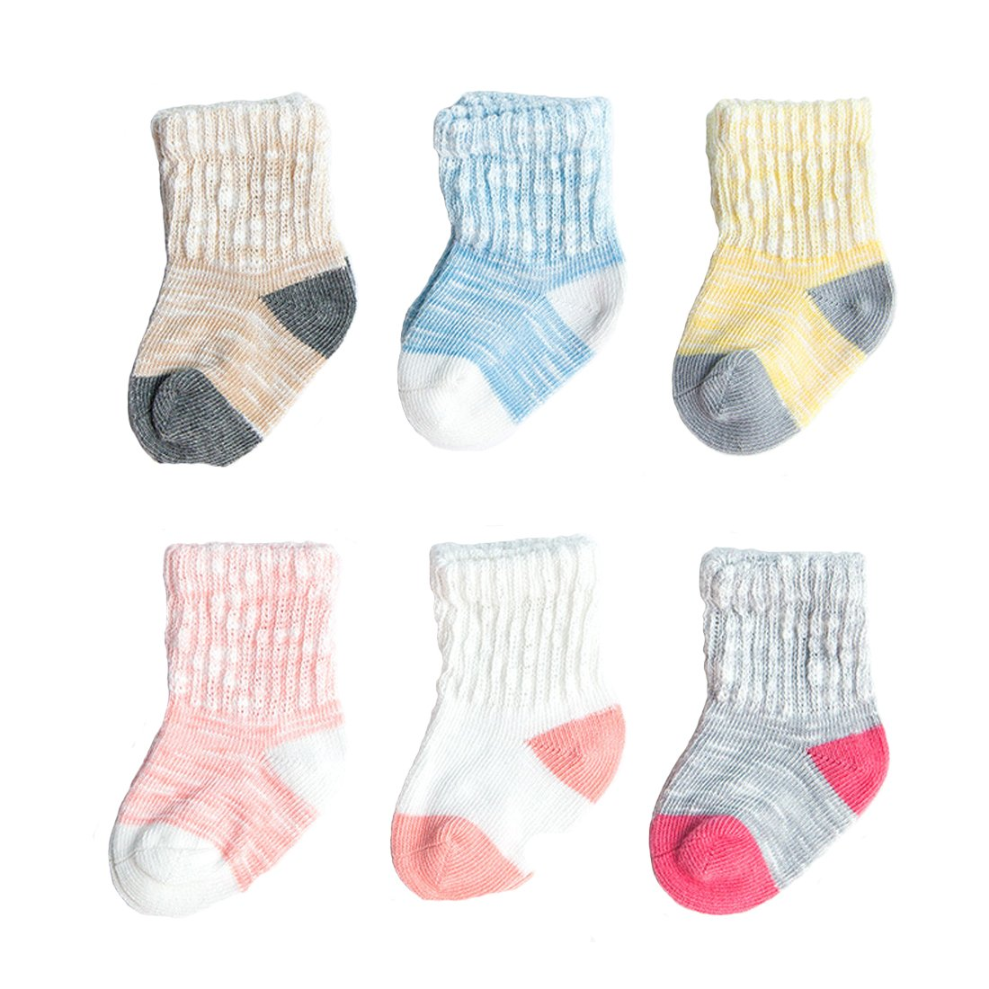 6 Pairs Bamboo Yarn Cotton Socks Unisex Baby Toddlers Socks fit Spring Autumn