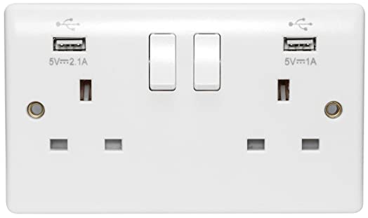 usb double wall plug socket 2 gang 13a with 2 usb charger port outlets white socket