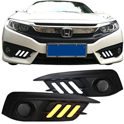 Fog Lights Cover Fits 2016 2018 Honda Civic | White DRL U0026 Amber Turn Signal