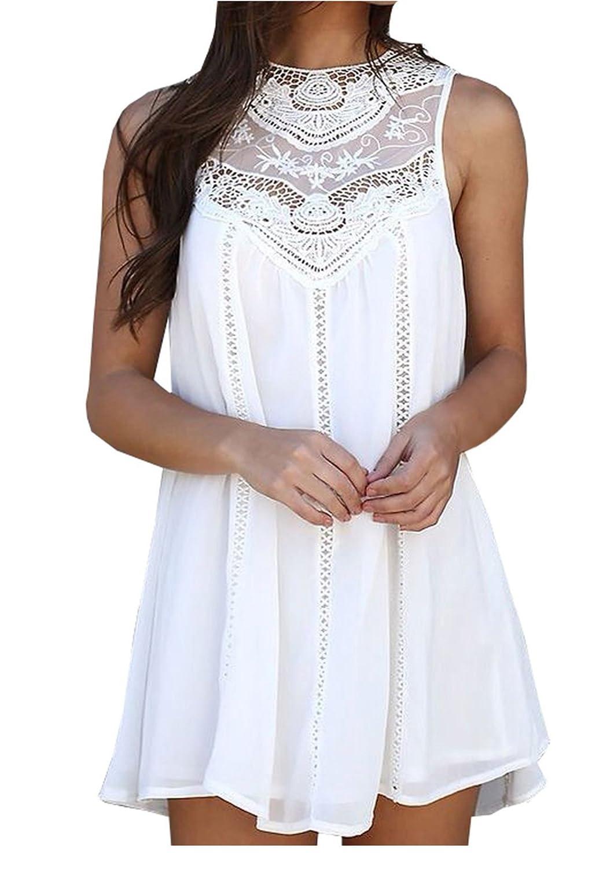 Damen Sommerkleid kurz Minikleider Rundhalsausschnitt Hohl Ärmellos Spitze Chiffonkleid Rock Partykleid Strandkleid Weiß
