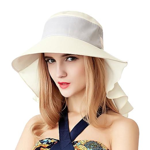 da28f9111b52a3 Home Prefer Womens Sun Hat UPF 50+ Wide Brim Neck Flap Hat Cotton Beach Sun