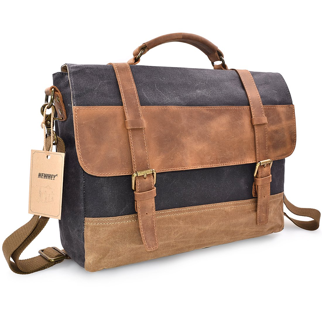 bd6aa3cb12 NEWHEY Genuine Leather Canvas Messenger Bag Waterproof Vintage Large 15  Inch Computer Laptop Mens Womens Messenger Bag Briefcase Notebook Grey  ...