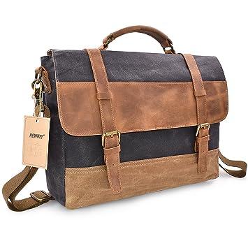 NEWHEY Genuine Leather Canvas Messenger Bag Waterproof Vintage Large 15  Inch Computer Laptop Mens Womens Messenger 637d31496725a