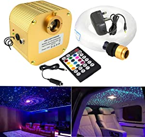 AZIMOM LED Fiber Optic Star Ceiling Light Kit 16W Twinkle RGBW Engine Drive with RF 28 Key Remote for Indoor Car Interior Decoration 450pcs 0.03in 9.8ft