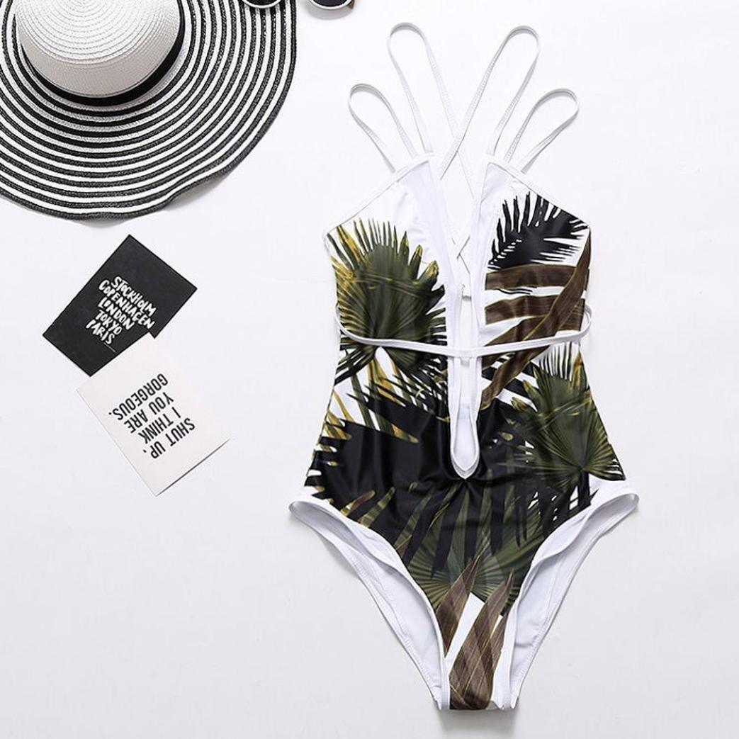 PAOLIAN Trajes de una pieza Bikini enteros sexy Mujer Verano 2018 Ropa de Playa Bañador Impreso Hojas Correa del lazo Cuello V Cruz de Ropa espalda nadador ...