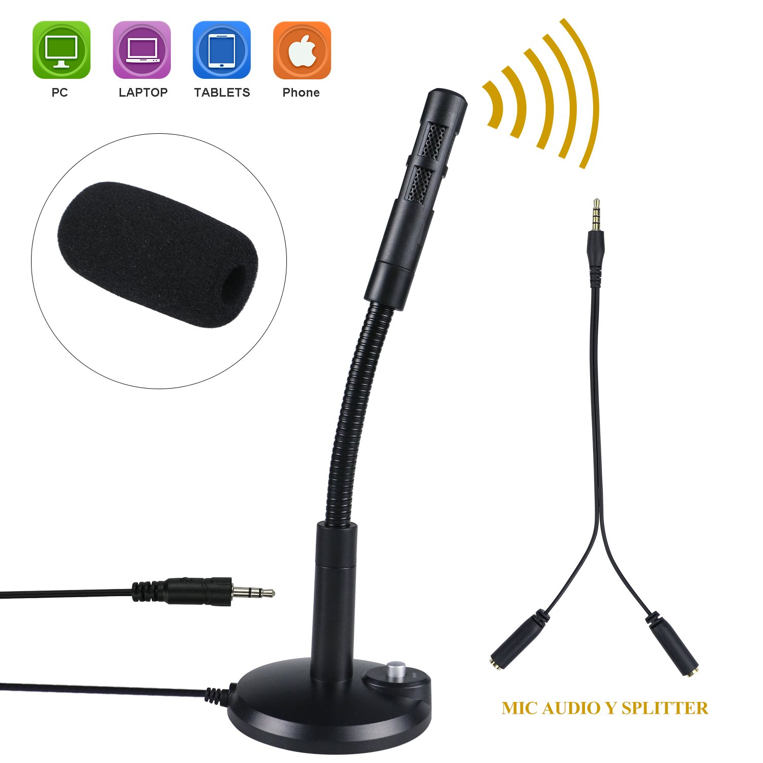 Philonext Condenser Microphone, Portable Mini Condenser Microphone, 3.5mm Plug & Play Home Studio Vocal Recording Microphone with Tripod Stand for PC Laptop Tablet and Phone (Tape 3)