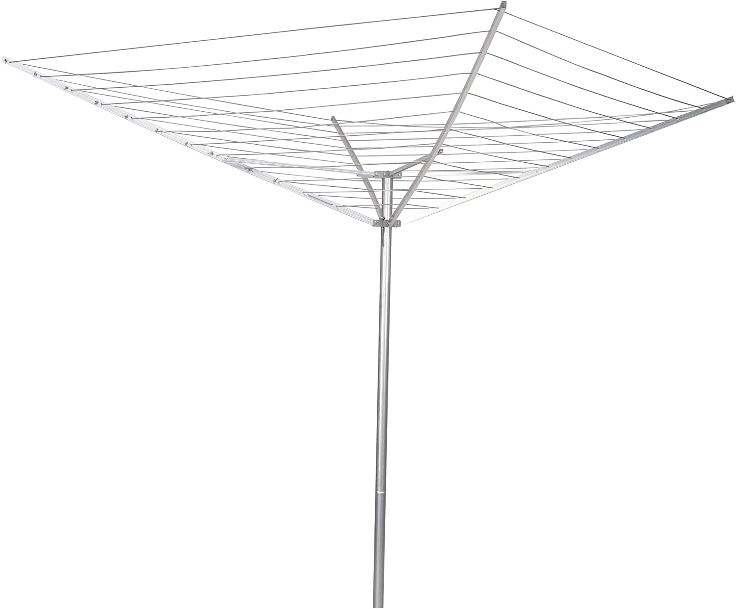 Amazon Com Household Essentials 17120 1 Rotary Outdoor Umbrella Drying Rack Aluminum Arms And Steel Post 12 Lines With 165 Ft Clothesline Home Kitchen
