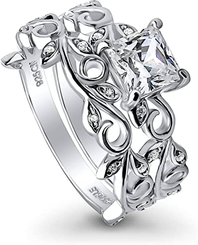 Gorgeous Pear Shaped Clear CZ 925 Silver Modern 3 Row Eternity Band Size 6.25