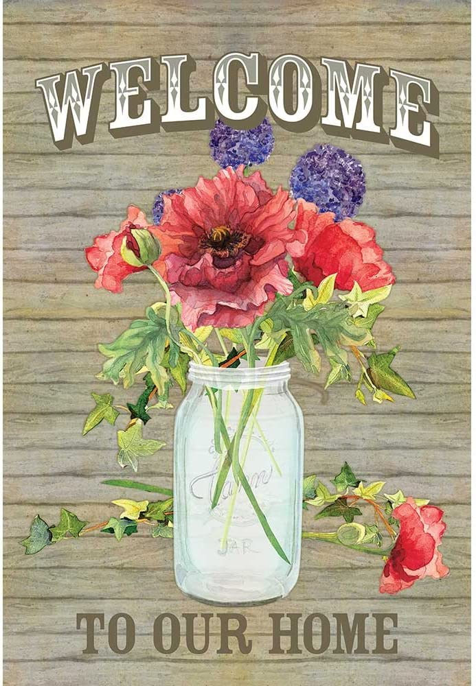 Welcome to Our Home Red Poppy Mason Jar 13 x 18 Rectangular Small Garden Flag