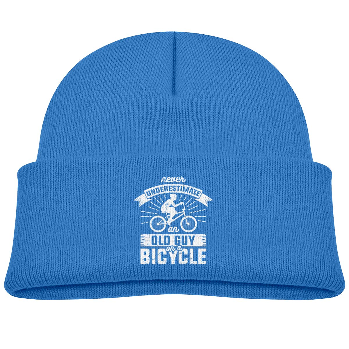 Never Underestimate an Old Guy On A Bicycle Beanie Hats Baby Girls Blue