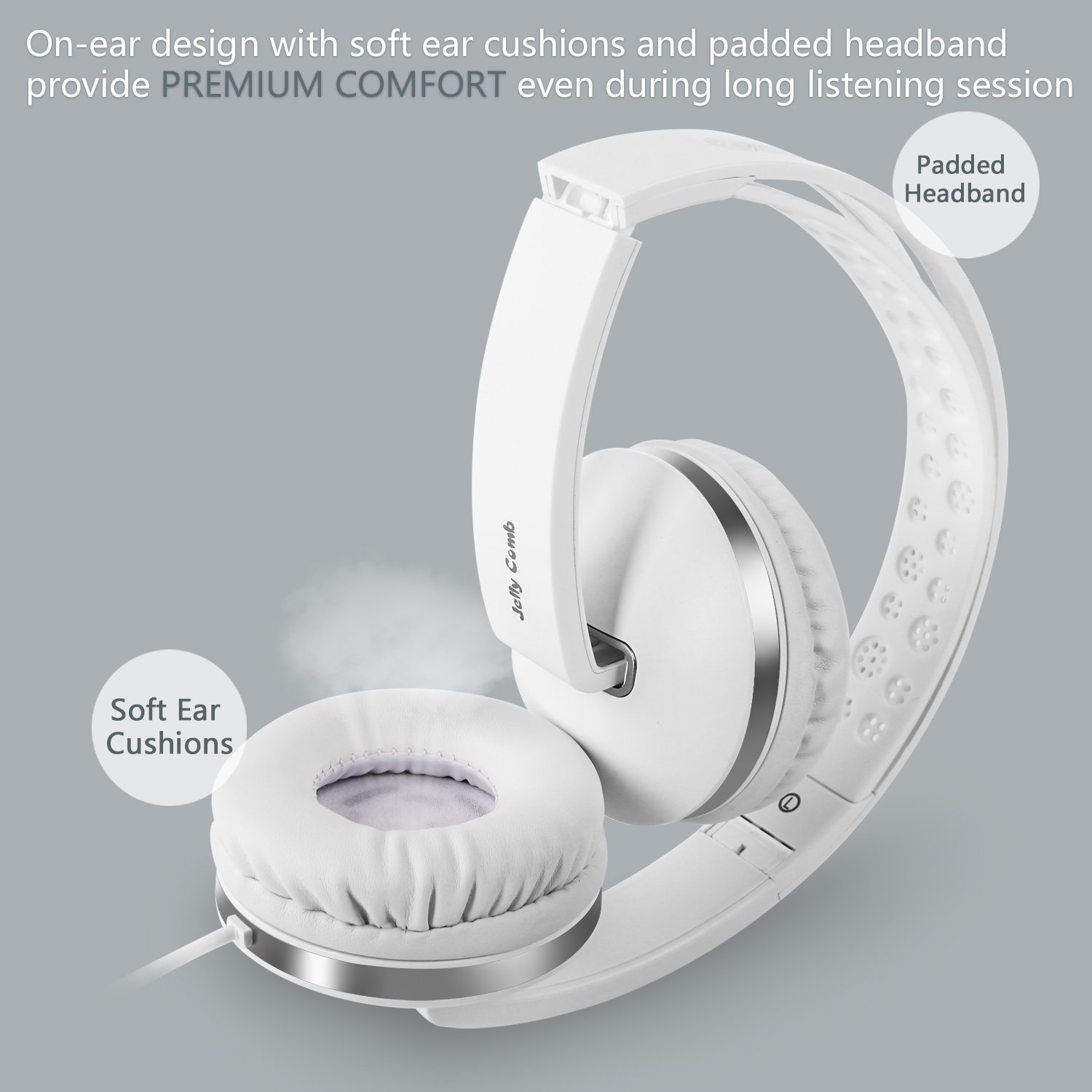 On Ear Headphones with Mic, Jelly Comb Foldable Corded Headphones Wired Headsets with Microphone, Volume Control for Cell Phone, Tablet, PC, Laptop, MP3/4, Video Game (White) by Jelly Comb (Image #4)