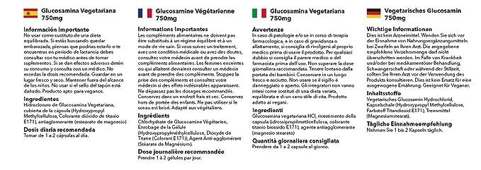 Glucosamina vegetariana 750mg - 360 cápsulas - Hasta un año de suministro - SimplySupplements: Amazon.es: Salud y cuidado personal