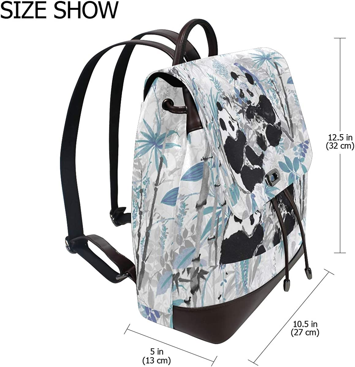 PU Leather Shoulder Bag,Bamboo And Pandas Backpack,Portable Travel School Rucksack,Satchel with Top Handle