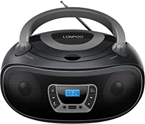 LONPOO CD Player Boombox Classic Stereo Sound System Portable Boom Box Speaker with FM Radio, Bluetooth, Aux-in, USB Playback