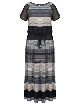 4125b8bb04b Chicwe Women s Plus Size Printed Raglan Sleeves Maxi Dress with Waist Belt  - Casual Party and