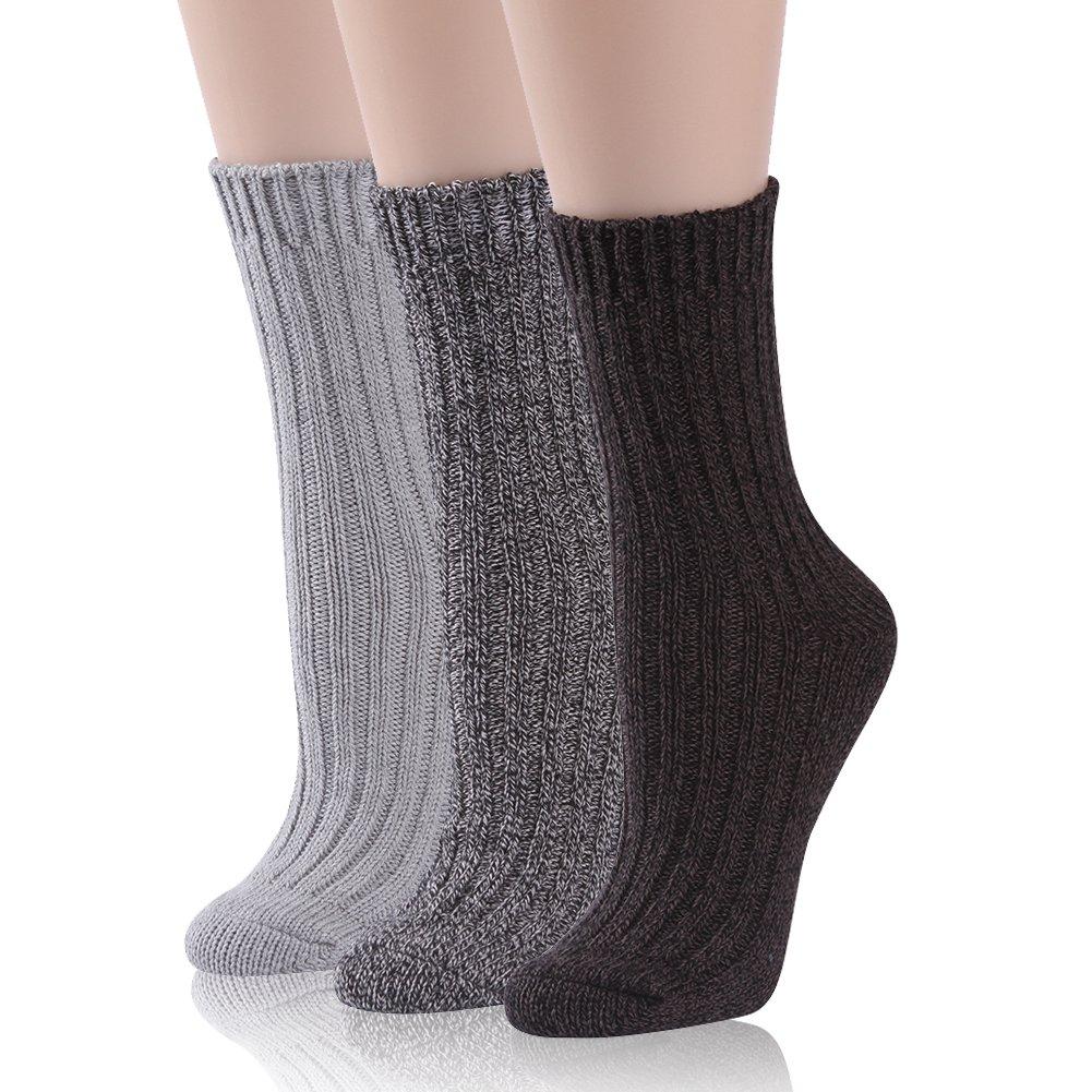 Thick Cotton Socks, RTZAT Women's Girls' 3 Pairs Thick Knitting Cotton Colorful Soft Warm Knit Crew Boot Socks Light Grey, Black, Dark Brown