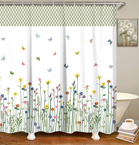 Riyidecor Pink Floral Shower Curtain Free Metal Hooks 12-Pack Rose Flower Green Leaf Spring Shower Curtain Panel Polyester Waterproof Fabric 72x72 Inch