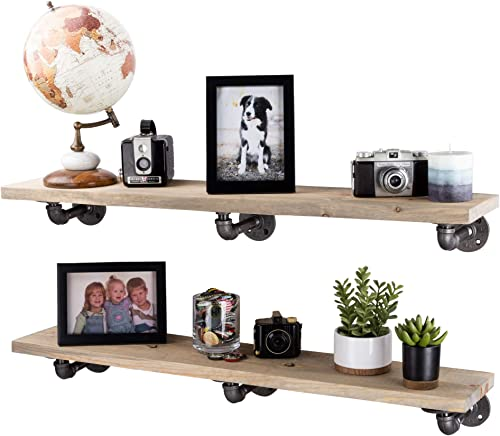 PIPE D COR Industrial Pipe Wooden Shelves Restore Premium Ponderosa Pine Wood Shelving 36 Inch Length Set of 2 Boards and 6 L Brackets Driftwood Tan Finish