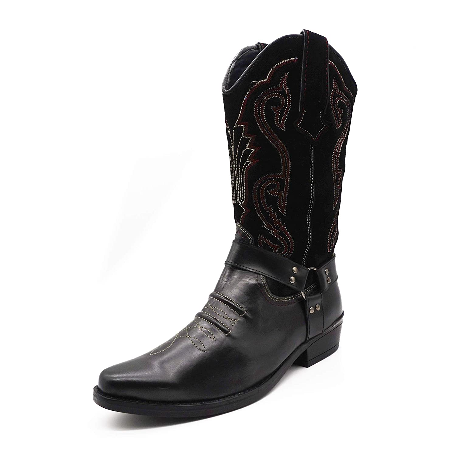 TALLA 40 EU. Mens Leather Cowboy Pull On Western Harness Cuban Heel Smart Ankle Boots UK 6-13