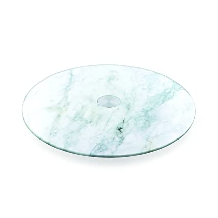 Saveur et Degustation KS9225 Bandeja giratoria, Efecto de mármol, de Cristal, Blanca,