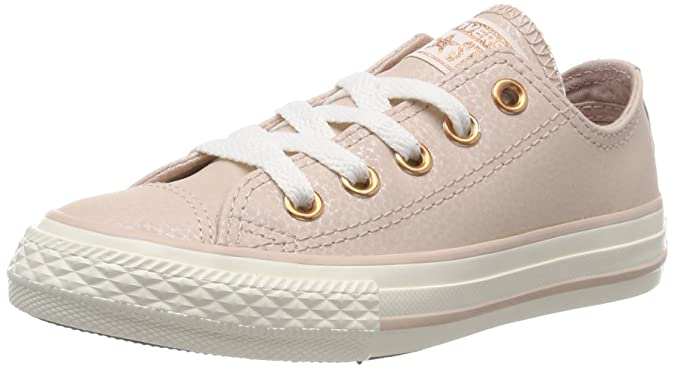 Amazon.com | Converse Chuck Taylor All Star Leather Ox Particle Beige Leather Youth Trainers Shoes | Shoes