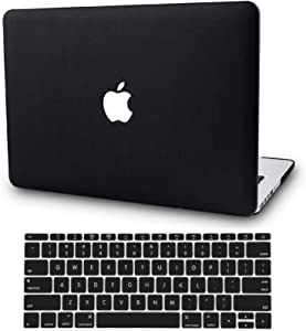 "KECC Laptop Case for Old MacBook Pro 15"" Retina (-2015) w/Keyboard Cover Italian Leather Case A1398 2 in 1 Bundle (Black Leather)"