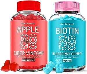 Oso Yummy Beauty Bundle - Hair, Skin & Nails Gummies Vitamin + Apple Cider Vinegar Gummies