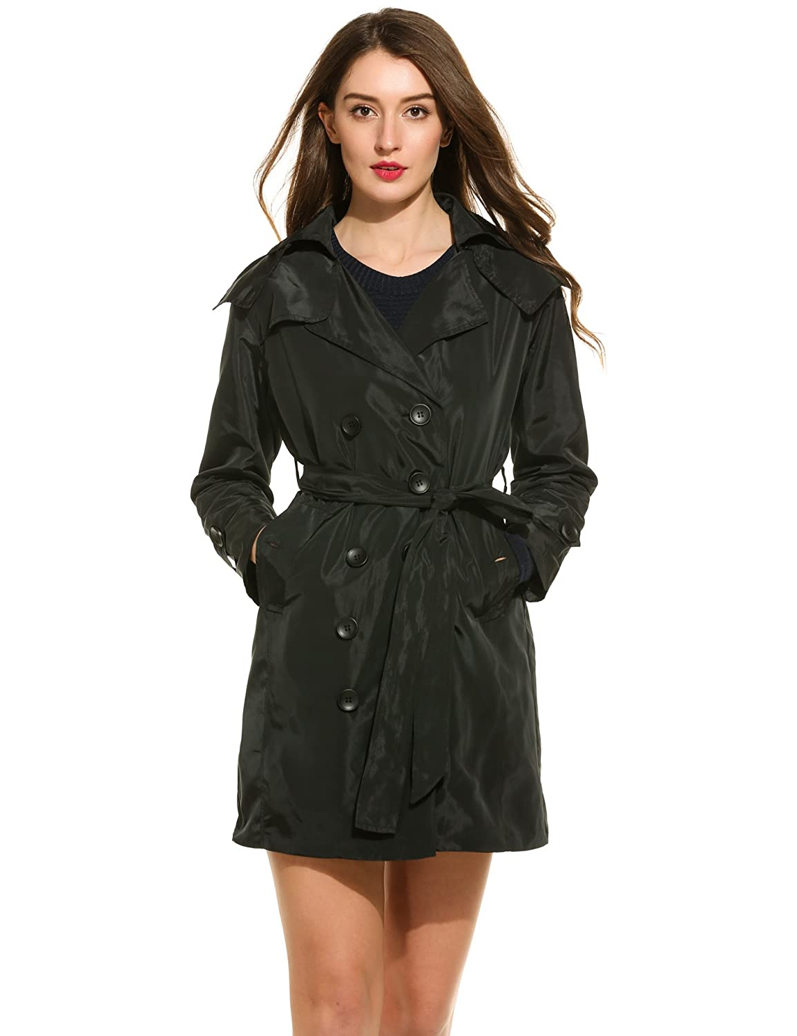 Zeagoo Women Double Breasted Long Trench Coat with Belt