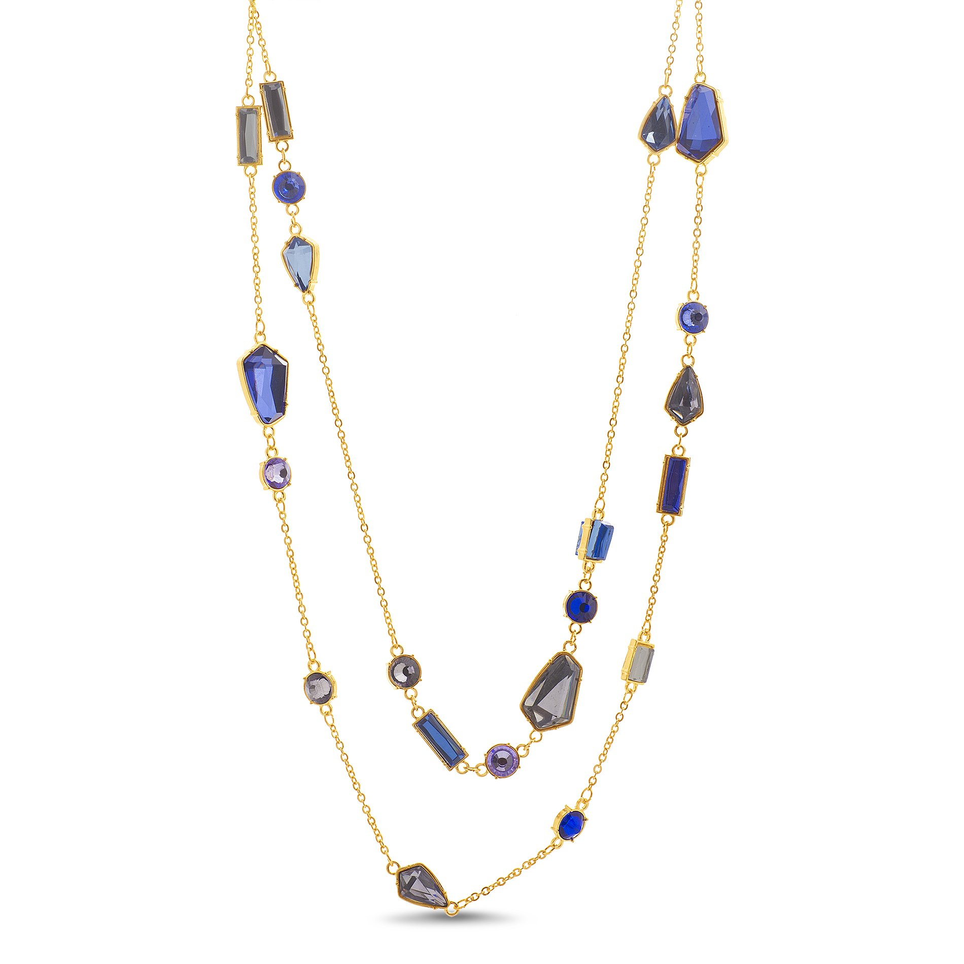 Catherine Malandrino Women's 60'' Multi-Colored Station Layered Wrapping Rolo Chain Yellow Gold-Tone Necklace (Blue)
