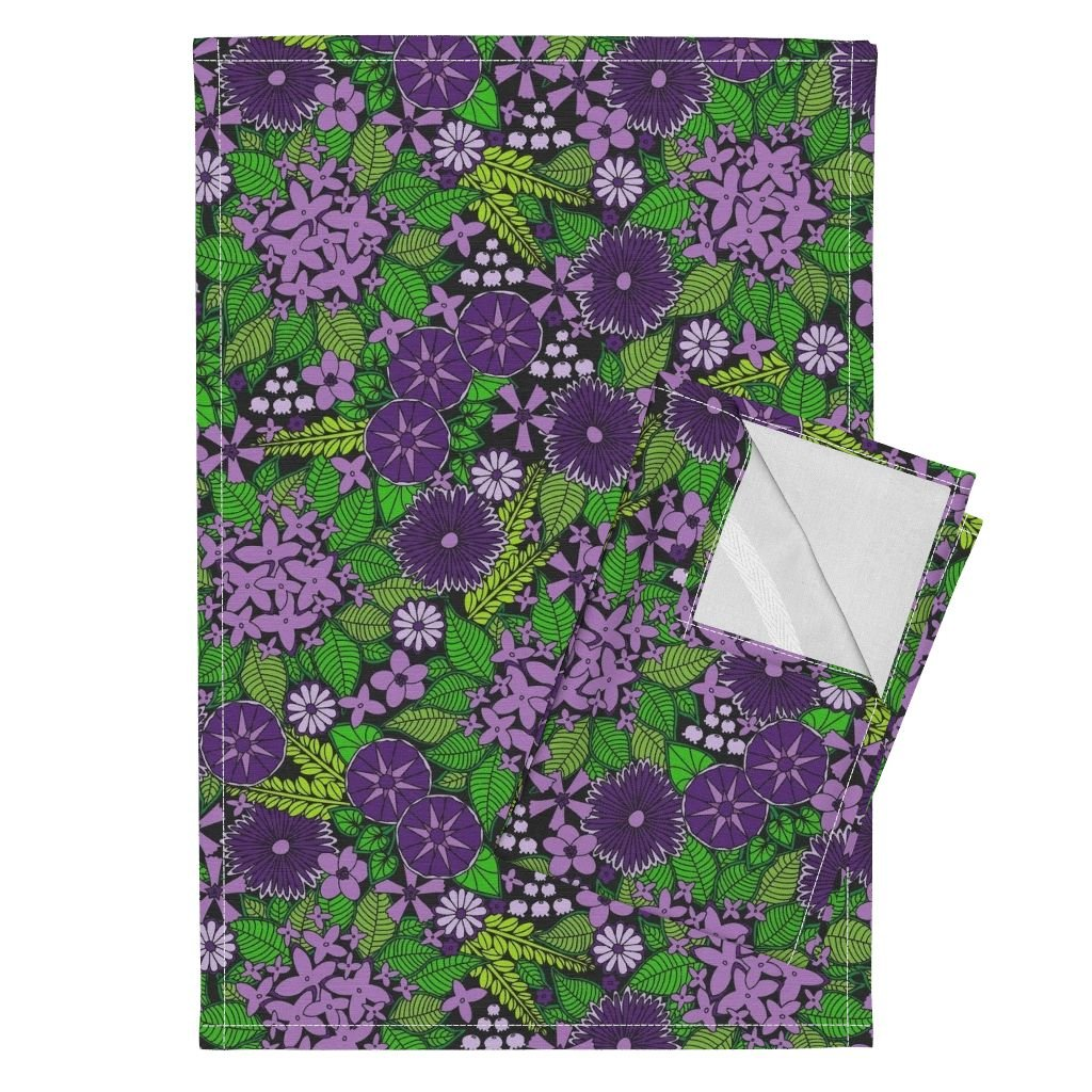 Flower Floral Colorful Chic Nature Wildflower Leaves Tea Towels Wild Wallflowers (Purple) by Robyriker Set of 2 Linen Cotton Tea Towels