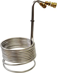 Stainless Steel Immersion Wort Chiller w/Garden Hose Fittings