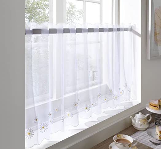 caf voile curtain panel embroidered kitchen net curtains daisy flower 59u0026quot