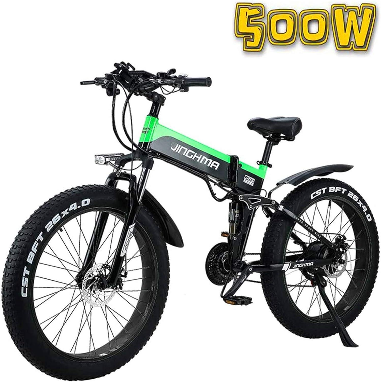 Alta velocidad Montaña bicicleta eléctrica plegable de 26 pulgadas Fat Tire Bicicleta eléctrica, 48V500W nieve Bicicleta / 4.0 Fat Tire, batería de litio de 13Ah, suave cola de la bicicleta for hombre