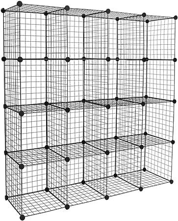 Wire Cube Storage Origami Shelves Metal Grid Modular Cubbies Organizer Bookcase