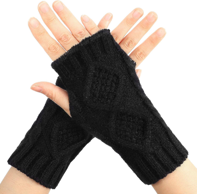 1 Pair Women Cashmere Fingerless Warm Winter Gloves Hand Wrist Warmer Mitten DEA