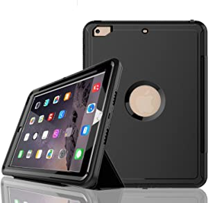 iPad 6th/5th Generation Case,iPad 9.7 Case 2018/2017,Model(A1893/A1954/A1822/A1823),with Free Screen Protector,Three Layer Heavy Duty Shockproof Protective Stand Case(Black)