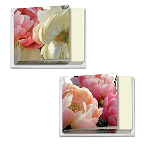 Peony Passion , 12 Get Well Soon Cards with Envelopes (4 x 5.12 Inch) ,  Beautiful Flower Feel Better Greeting Cards for Sick, Ill , Assorted Boxed