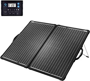 ACOPOWER 120W Mono Lightweight Portable Solar Panel Kit 2Pcs 60W Solar Suitcase, Waterproof 20A 12V/24V LCD Charge Controller for Both 12V Battery and Generator (New Launched)