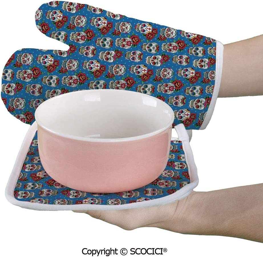 SCOCICI Baking Anti-Hot Glove Pattern with Skulls Roses in Floral Mexican Oven Microwave Mitts Pot with Square Mat
