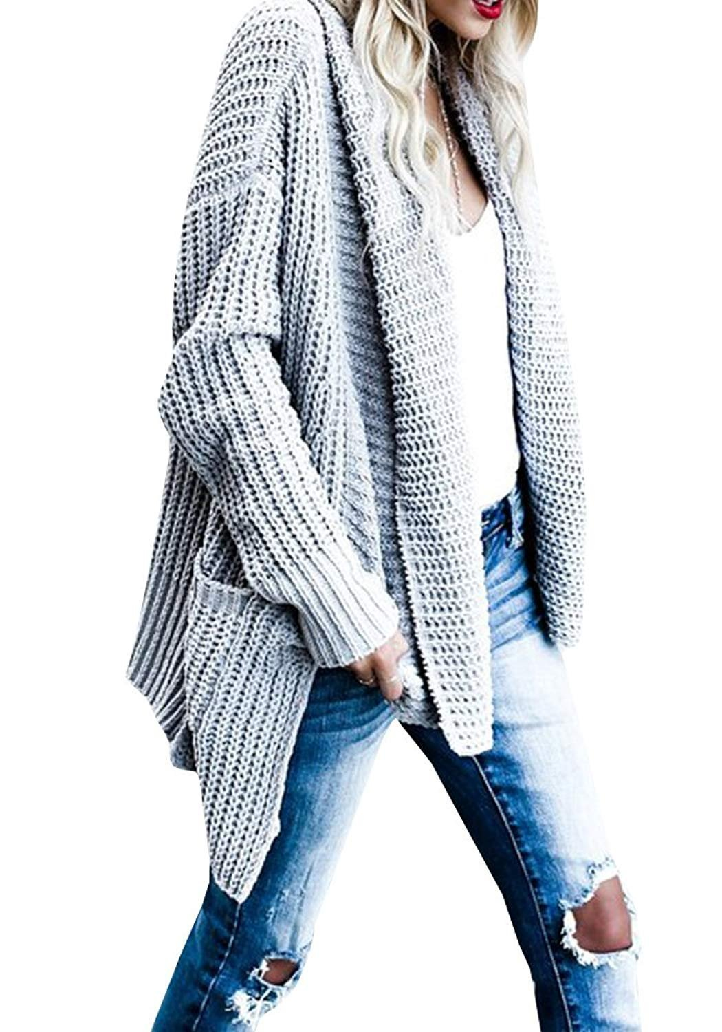 FIRENGOLI Womens Open Front Chunky Sweater Cardigan Long Sleeve Knit Coat with Pocket Grey XL by FIRENGOLI (Image #2)
